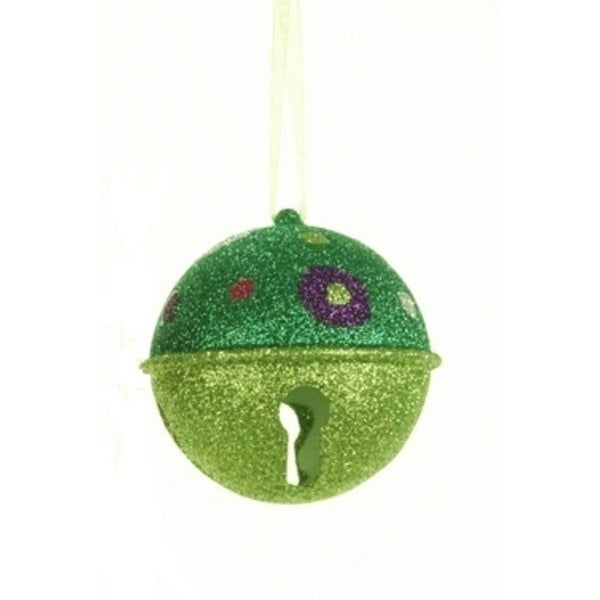 Candy Fantasy Green Glitter Bell with Polka Dots Christmas Ornament 3.25""