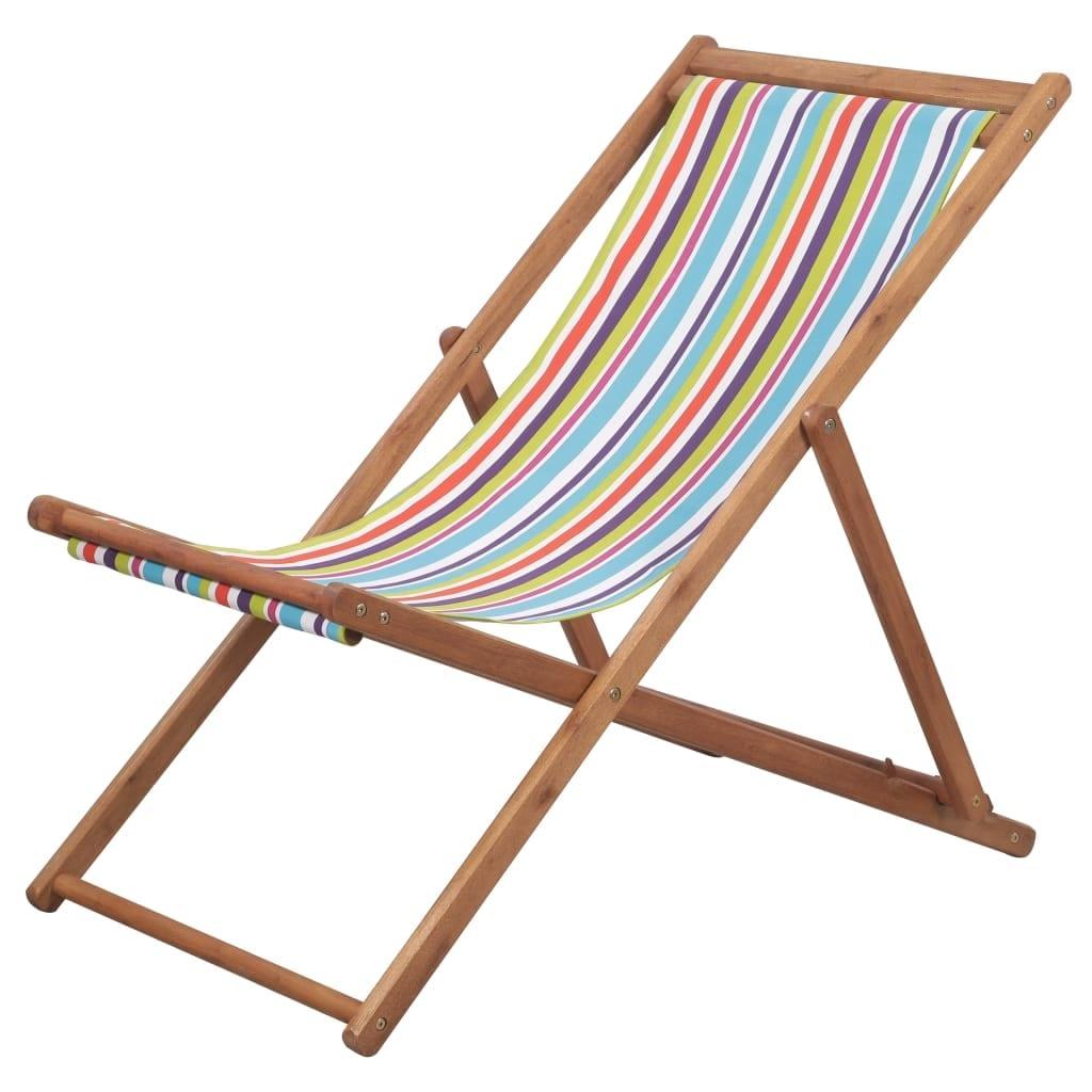 Swell Vidaxl Folding Beach Chair Fabric And Wooden Frame Multicolor Lounger Seat Beatyapartments Chair Design Images Beatyapartmentscom