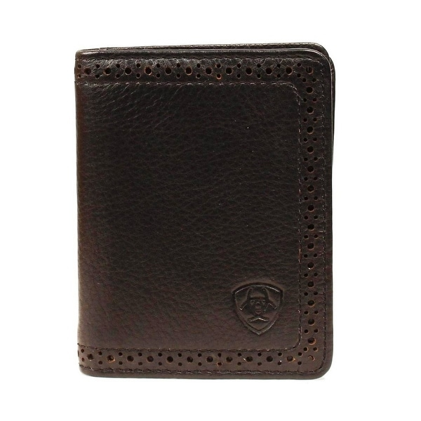 Ariat Western Wallet Mens Leather Bifold Perforated Black - One size