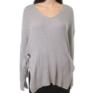Lush NEW Gray Women's Size Small S V-Neck Side-Tie Waffle Knit Sweater
