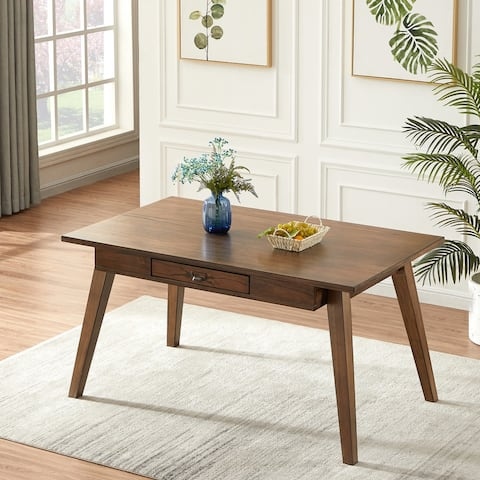 Furniture R Traditional Solid Wod Dining Table with Drawer