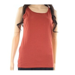 Pink Rose Copper Rust Brown Size XS Junior Wide Strap Tank Top