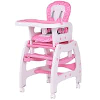 Costway 3 in 1 Baby High Chair Convertible Play Table Seat Booster Toddler Feeding Tray Pink