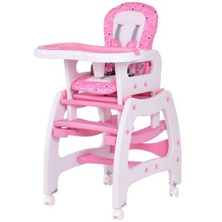 Nice Costway 3 In 1 Baby High Chair Convertible Play Table Seat Booster Toddler  Feeding Tray Pink