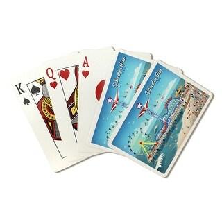 Galveston, Texas - Retro Pier - LP Artwork (Poker Playing Cards Deck)