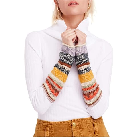 Free People Womens Mixed-Up Cuff Pullover Sweater