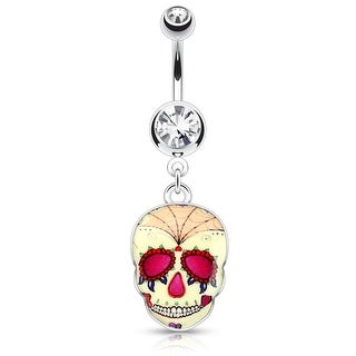 Yellow Sugar Skull 316L Surgical Steel Dangle Navel Ring