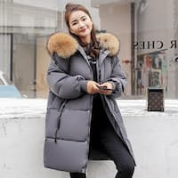 Down jacket loose large size fur collar cotton clothes