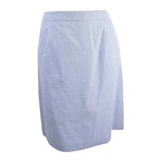 Nine West Women's Seersucker Pleated Skirt - NAVY/WHITE