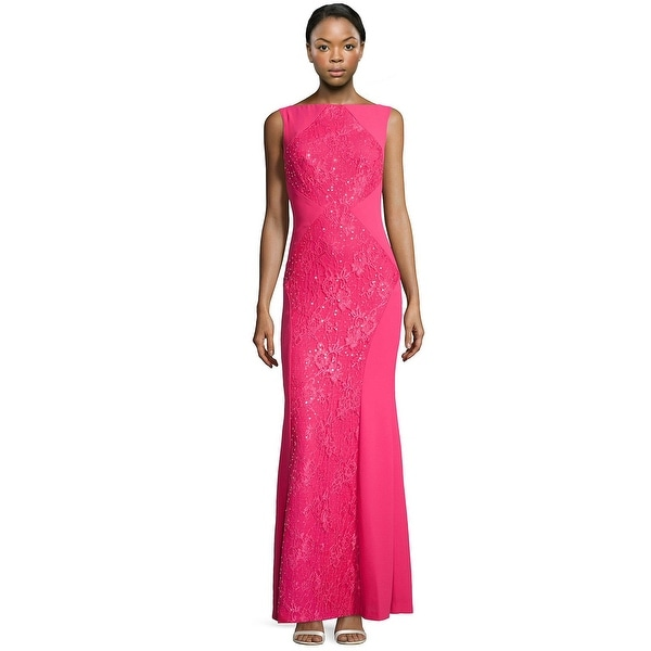 aed4cd88ea5a Shop ML Monique Lhuillier Sequined Lace Inset Evening Gown Dress - 4 ...