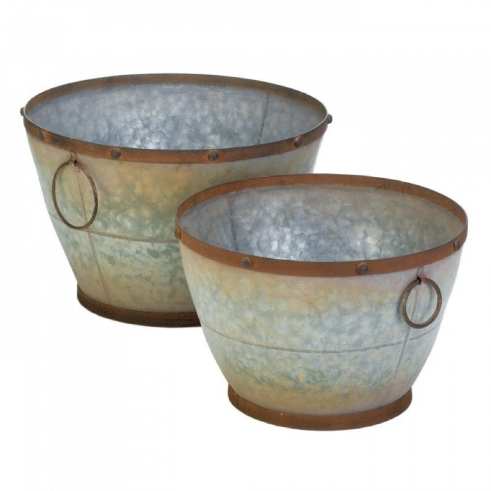 Set of 2 Tapered Farmhouse Planters