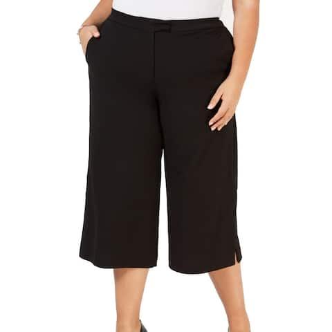 Michael Kors Womens Pants Black Size 1X Plus Cropped Crepe Stretch