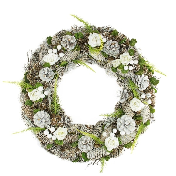 """19"""" White Frosted Pine Cone, Roses and Twigs Artificial Christmas Wreath - Unlit - brown"""