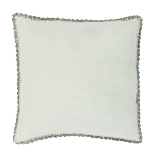 """20"""" Solid Sage Green with Elephant Gray Trim Woven Decorative Throw Pillow - Down Filler"""