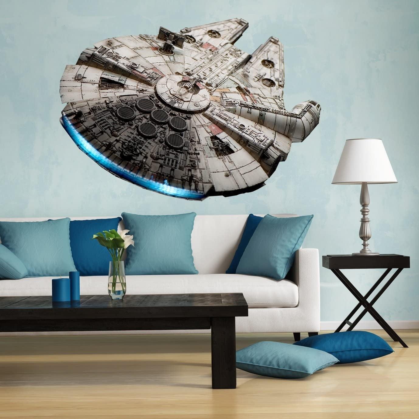 Star Wars Millennium Falcon Magic Window Wall Adhesive Sticker Print Poster 3D