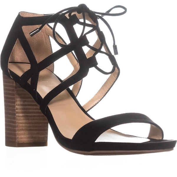 Franco Sarto Jewel Lace-up Heeled Sandals, Black - 10 us / 40 eu