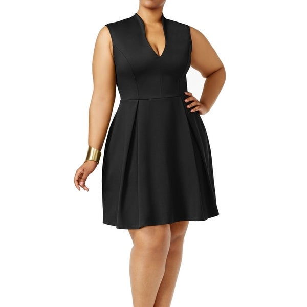 c43c4968d10 Shop Soprano Black Womens Size 2X Plus Fit N Flare Pleated A-Line Dress -  On Sale - Free Shipping On Orders Over  45 - Overstock - 27491587