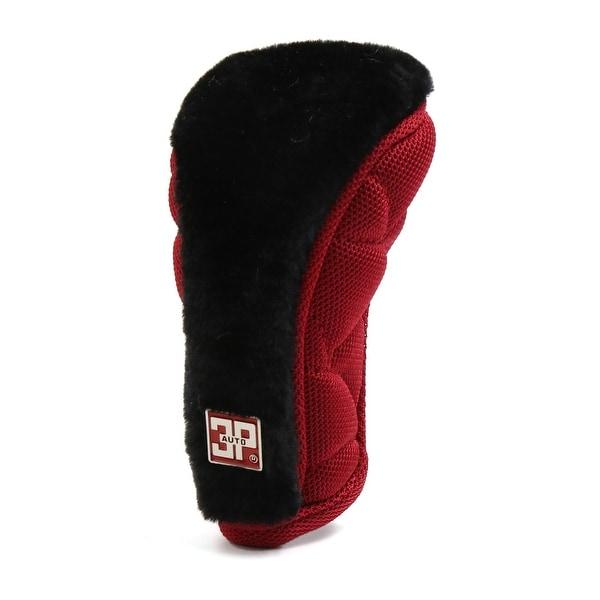 Nylon Flannel Zipper Closure Car Gear Shift Knob Protective Cover Black Red
