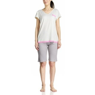 Body Touch Women's Grey Striped Short Sleeve & Short PJ Set (3 options available)