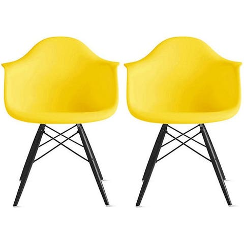Set of 2 Color Modern Arm Chairs For Dining Room Kitchen Solid Molded Plastic Seat Dark Black Wood Eiffel Legs DSW
