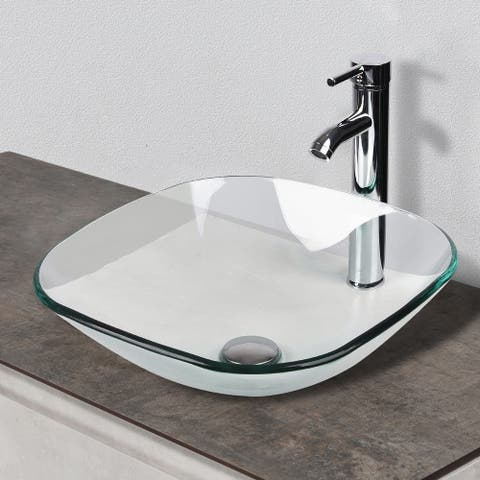 Bathroom Vessel Sink Set Clear Glass with Faucet Pop-Up Drain - 16.5*16.5*5