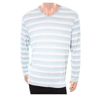 Alfani NEW Green Tide Mens Size XL V-Neck Striped Long-Sleeve Sweater