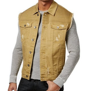 LRG Gold Beige Mens Size XL Vest Button-Front Pintucked Jacket