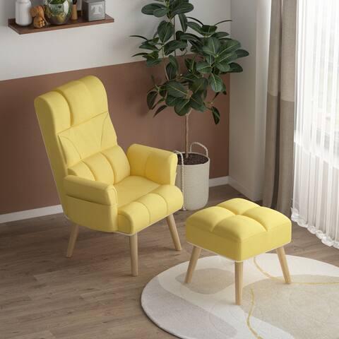 Kerrogee Lounge Chair Ottoman Set - Adjustable Recliner Wood Leg - Yellow