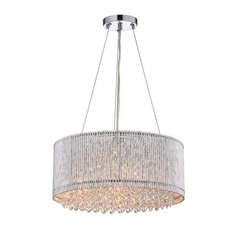 Chrome 4-Light Tubes Drum Shade Chandelier with Hanging Crystals