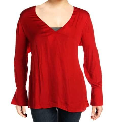 City Chic Women's Blouse Classic Orange Size 14W Plus Flounce Sleeve