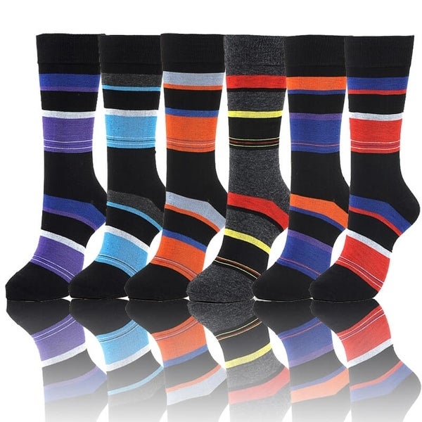 Colorful Designer Patterned Men's Striped Dress Socks (Size 10-13)