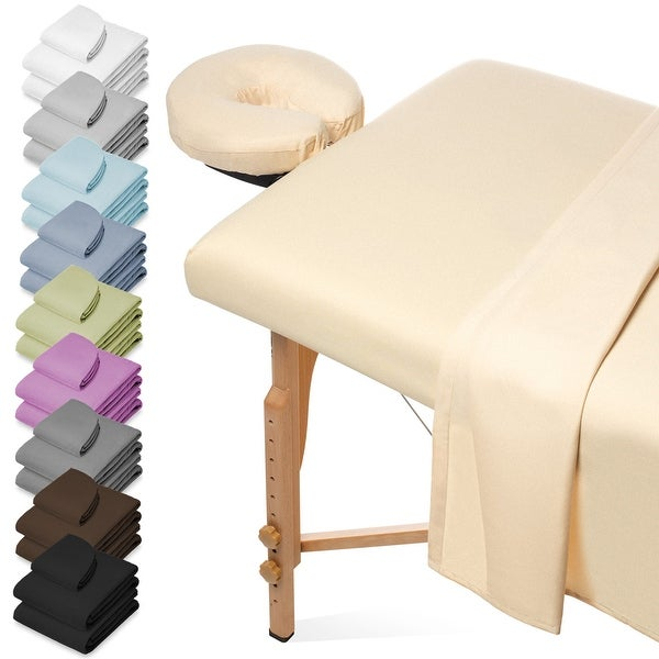 3-Piece Massage Table Sheet Set with Face Cradle Cover - Saloniture. Opens flyout.