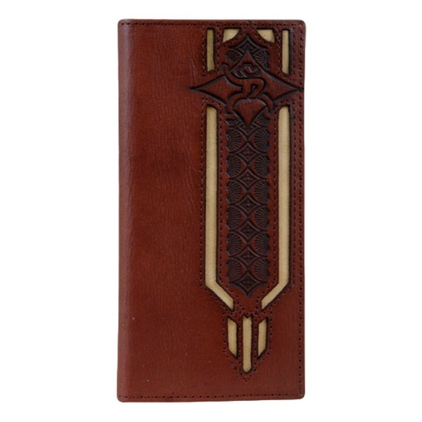 HOOey Western Wallet Mens Roughy Inlay Rodeo Chestnut Tan - 3 1/2 x 3/4 x 7