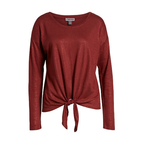 Chelsea28 Womens Deep Small Tie-Front Shimmer Knit Top