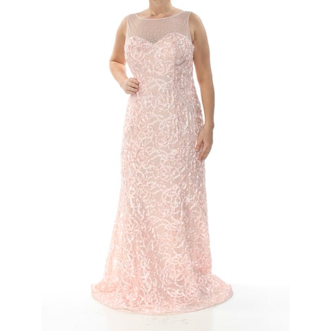 SLNY Womens Coral Gown Soutache Sleeveless Illusion Neckline Full-Length Mermaid Formal Dress Size: 8
