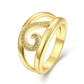Swirl Lined Gold Modern Twist Ring