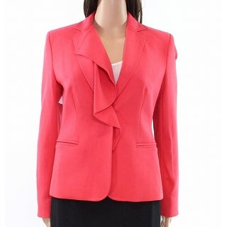 Max Mara NEW Coral Pink Women's Size 6 One-Button Ruffle Blazer