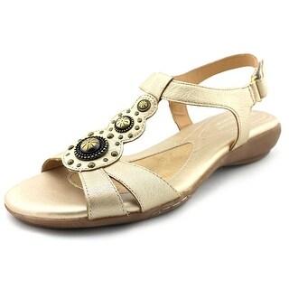 Naturalizer Carlita Women Open-Toe Leather Gold Slingback Sandal