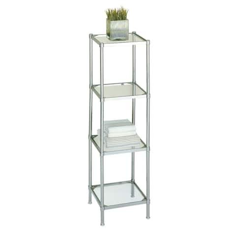 Neu Home Free Standing 4 Tier Glass Shelf Tower - 13.25L x 13.25W x 48H in.