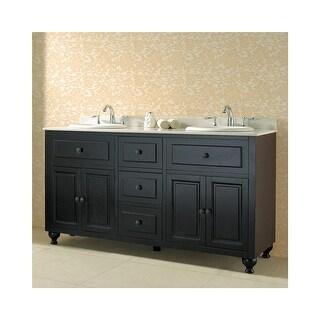 """Miseno MVKE60 60"""" Free Standing Vanity Set with Cabinet, Granite Vanity Top, Two"""