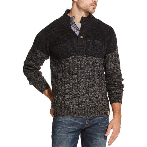Weatherproof Mens Sweaters Black Size XL Ombre Military-Button Pullover