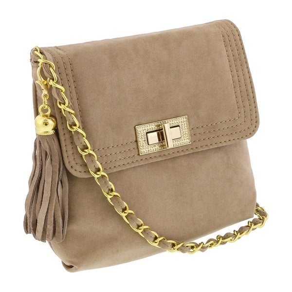Scheilan Camel Suede Tassle Clutch/Shoulder Bag