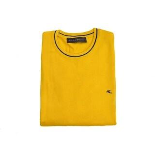 Etro Yellow Pure Wool Duo Tone Border Crew Neck Sweater