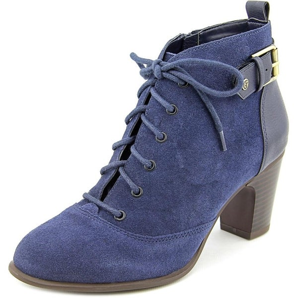 Giani Bernini Candence Women Round Toe Suede Blue Ankle Boot