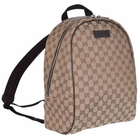 ddf9e4ddaeedbc Gucci 449906 Beige Canvas GG Guccissima Backpack Rucksack Travel Bag -  Beige/Brown