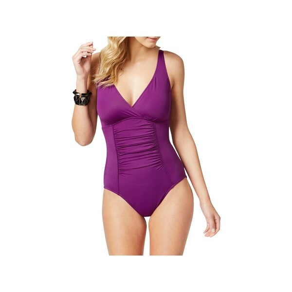 9c1425f5a7b25 Shop Swim Solutions Womens Tummy Control Shirred One-Piece Swimsuit ...