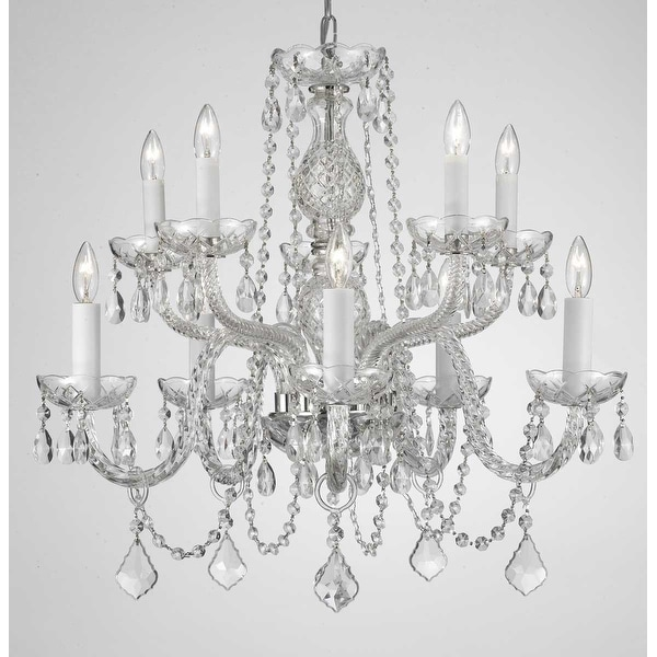 Swag Plug In Swarovski Crystal Trimmed Chandelier With 10 Lights