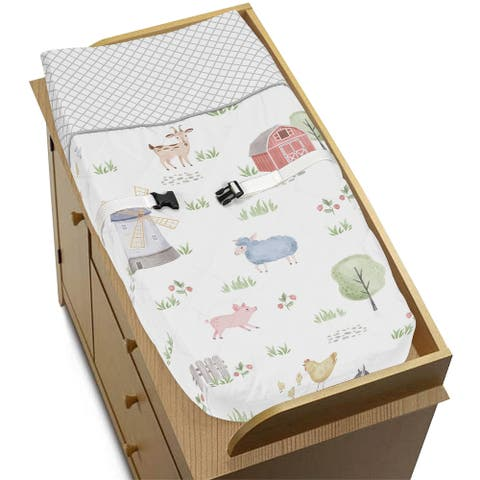 Farm Animals Collection Boy or Girl Changing Pad Cover - Watercolor Farmhouse Lattice Horse Cow Sheep Pig