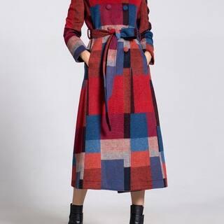 2a1b4e90f6856 Multicolor Long Sleeve Checkered Plaid Lapel Coat