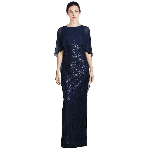 44d1468ab22ce Shop Teri Jon Sequined Cape Overlay Column Evening Gown Dress Navy ...